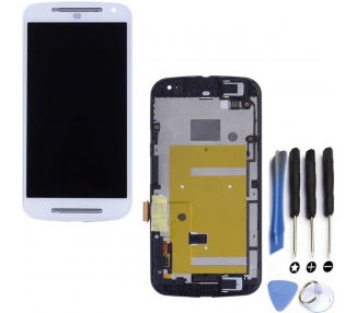 Display For Motorola Moto G, Color White, With Frame
