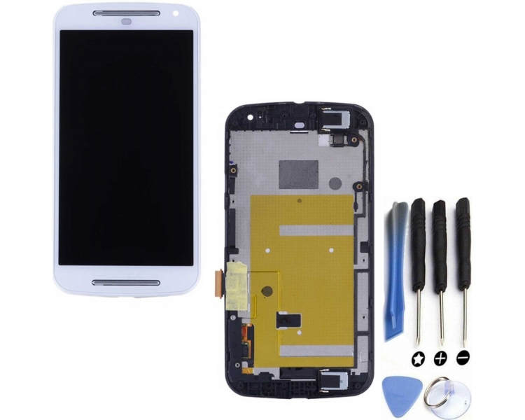 Vollbild mit Rahmen für Motorola Moto G XT1032 XT1033 Weiß Weiß ARREGLATELO - 1