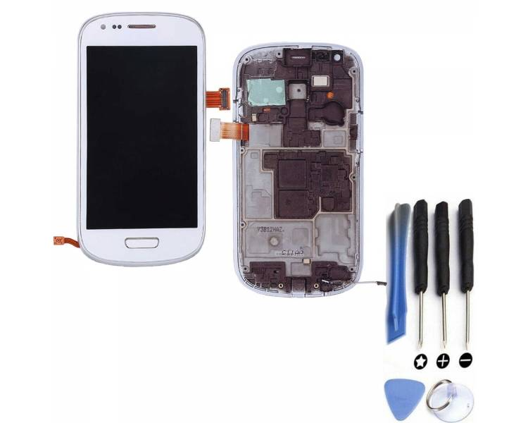 Display For Samsung Galaxy S3 Mini, Color White, With Frame, A ARREGLATELO - 1
