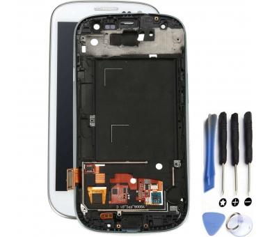 Schermo intero per Samsung Galaxy S3 i9300 con cornice bianca bianca ARREGLATELO - 1
