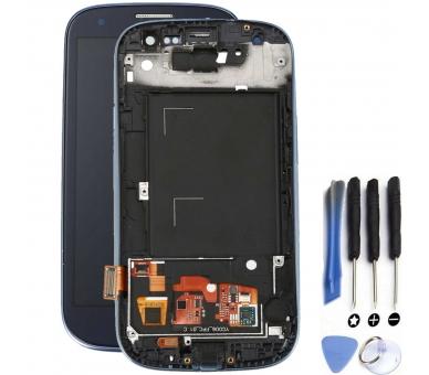Schermo intero con cornice per Samsung Galaxy S3 i9300 Nero Nero Blu ARREGLATELO - 1