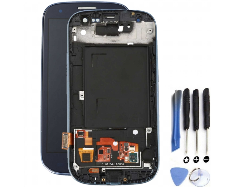Pantalla Completa con Marco para Samsung Galaxy S3 i9300 Negro Negra Azul ULTRA+ - 1