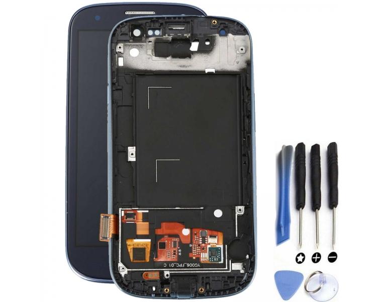 Vollbild mit Rahmen für Samsung Galaxy S3 i9300 Schwarz Schwarz Blau ARREGLATELO - 1
