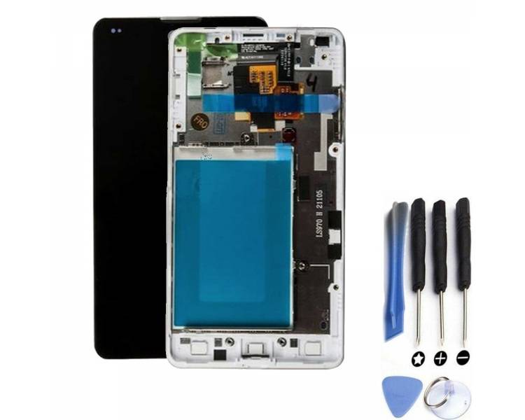 Display For LG Optimus G   Color White   With Frame    ULTRA+ - 1