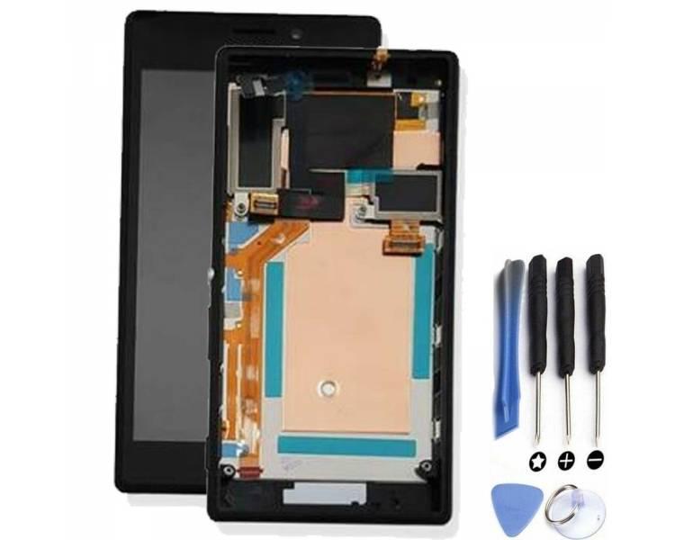 Pełny ekran z ramką dla Sony Xperia M2 D2302 D2303 D2305 D2306 Czarny