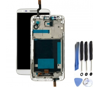 Display For LG G2, Color White, With Frame