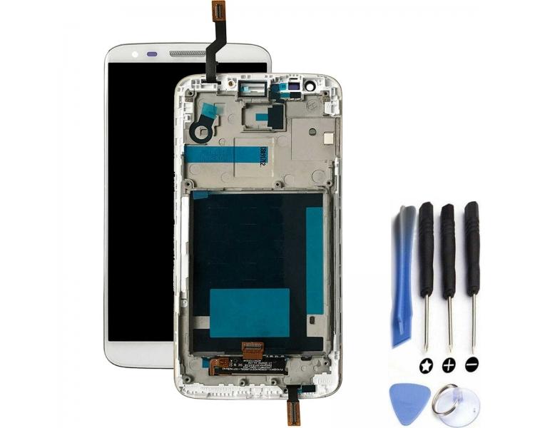Vollbild mit Rahmen für LG G2 D802 Weiß Weiß ARREGLATELO - 1