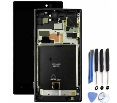 Pantalla Completa con Marco para Nokia Lumia 925 Negro Negra
