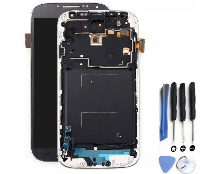 Ekran z Ramką do Samsung Galaxy SIV i9506 Niebieski - Amoled ARREGLATELO - 1