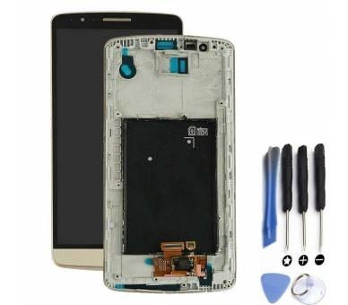 Display For LG G3, Color Gold, With Frame ARREGLATELO - 1