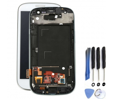 Display For Samsung Galaxy S3, Color White, With Frame, A ARREGLATELO - 1