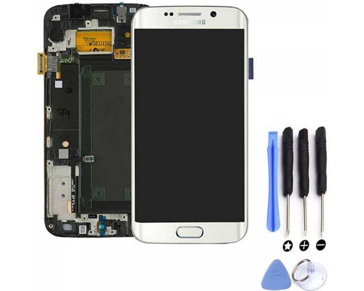 Display For Samsung Galaxy S6 Edge, Color White, With Frame, Original Amoled Samsung - 5