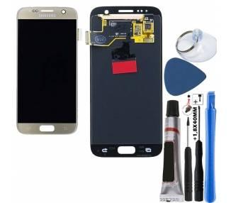 Display For Samsung Galaxy S7, Color Gold, Original Amoled