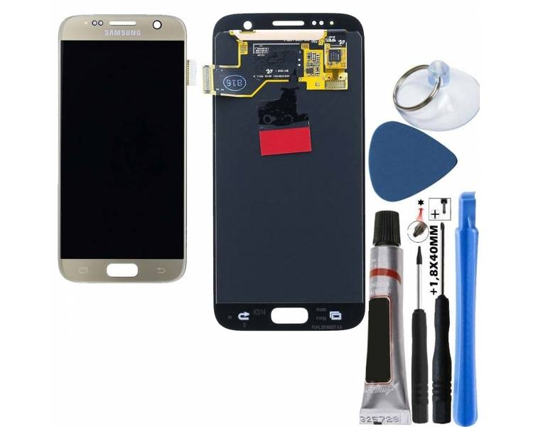 Display For Samsung Galaxy S7, Color Gold, Original Amoled Samsung - 1