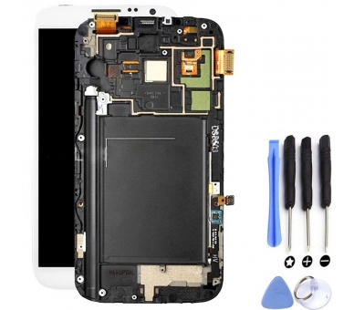 Display For Samsung Galaxy Note 2, Color White, With Frame, OLED ARREGLATELO - 2