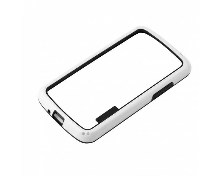BUMPER Schlanke Hülle für LG Google Nexus 4 TPU + SILICONE weiß weiß ARREGLATELO - 1