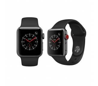 Watch (Series 3) 38 - Acier inoxydable Noir - Bracelet Sport noir Apple - 2
