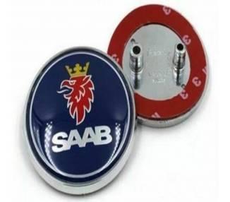 Emblema Insignia Maletero Azul para Saab 93 9-3 95 9-5 2003-2010 68mm 2 Pin