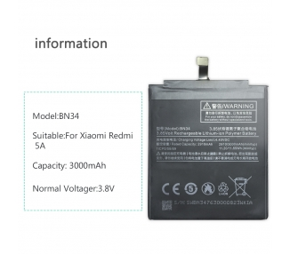 Bateria para Xiaomi Redmi 5A, MPN Original: BN34  - 9