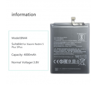 Battery For Xiaomi Redmi 5 Plus , Part Number: BN44  - 4