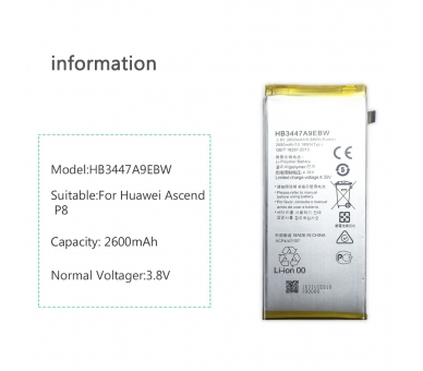 Bateria para Huawei Ascend P8 GRA-L09, MPN ORIGINAL: HB3447A9EBW ARREGLATELO - 5