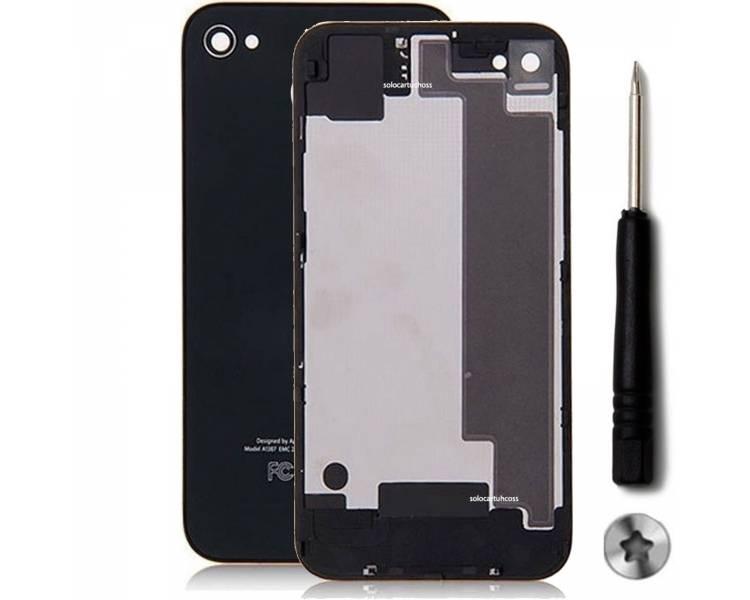Glazen achterkant voor iPhone 4S zwart zwart en schroevendraaier ARREGLATELO - 1