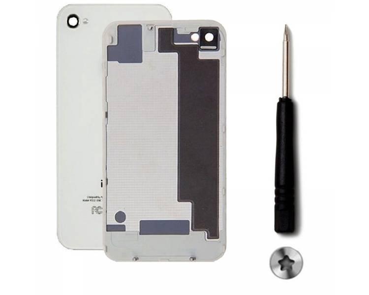 Tapa Trasera para iPhone 4S de Cristal + Destornillador Blanco Blanca ULTRA+ - 1