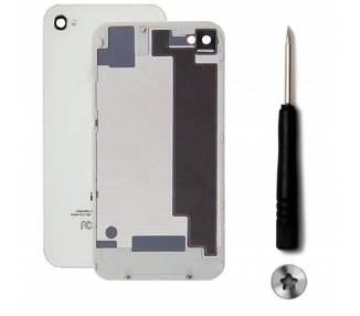 Tapa Trasera de Cristal para iPhone 4GS Blanco Blanca con Destornillador