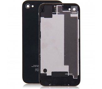 Tapa Trasera NEGRA iPhone 4 CRISTAL + DESTORNILLADOR PROTECTOR carcasa bateria