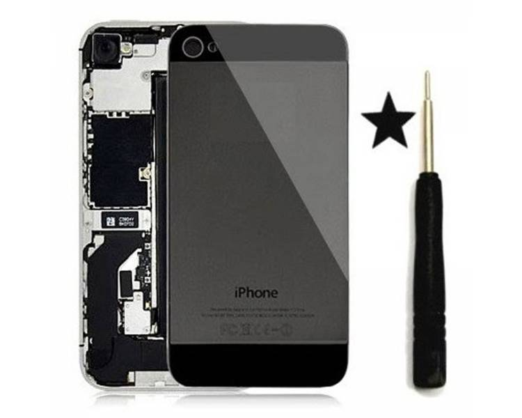 Glazen achterkant voor iPhone 4 Zwart Zwart Conversie naar iPhone 5 ARREGLATELO - 1