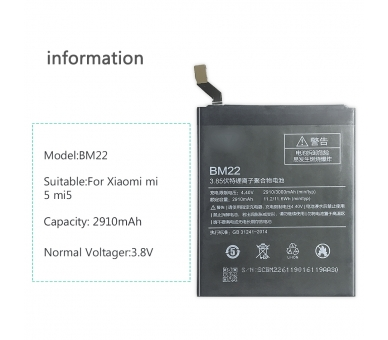 Batterij voor Xiaomi Mi5, origineel MPN: BM22 ARREGLATELO - 2