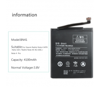 Bateria para Xiaomi Redmi Note 4, MPN Original: BN41 ARREGLATELO - 6