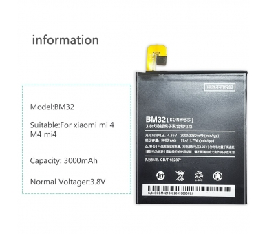 Bateria para Xiaomi Mi4 Mi 4, MPN Original: BM32 ARREGLATELO - 7