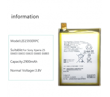 Battery For Sony Z5 Dual Sim , Part Number: LIS1593ERPC ARREGLATELO - 3