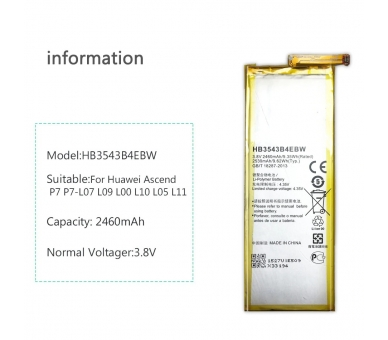 Battery For Huawei P7 , Part Number: HB3543B4EBW  - 5