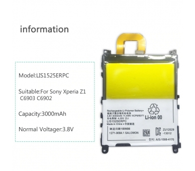 Battery For Sony Xperia Z1 , Part Number: 1271-9084 ARREGLATELO - 7
