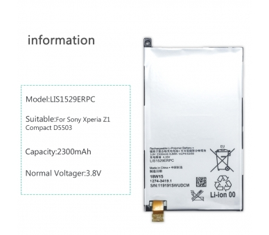 Battery For Sony Z1 Compact , Part Number: LIS1529ERPC ARREGLATELO - 2