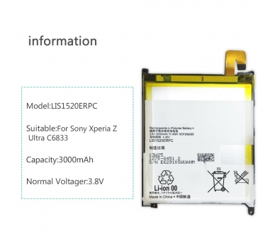 Batterij voor Sony XPERIA Z ULTRA C6802 XL39h, MPN Origineel LIS1520ERPC ARREGLATELO - 5