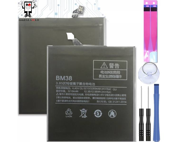 Batterij voor Xiaomi Mi4S Mi 4S, originele MPN: BM-38 BM38 BM 38 ARREGLATELO - 1
