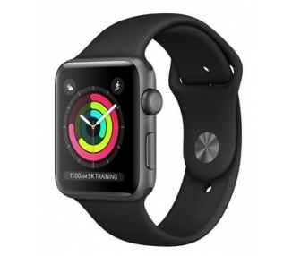 Apple Watch (Series 3) 38 mm - zwart aluminium - zwarte sportband