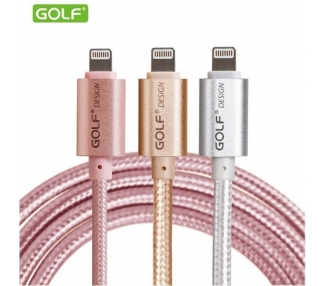 Cable Original GOLF para iPhone 5 5S 5C 6 6S 7 8 Plus X | Color Dorado  - 1