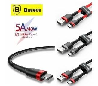 Baseus Cable de Datos USB Tipo C - Luz Led - Carga Rapida 3.0A - 100CM