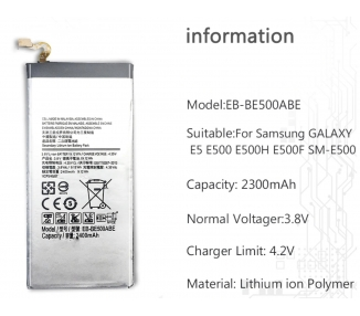 Battery For Samsung Galaxy E5 2015 , Part Number: EB-BE500ABE