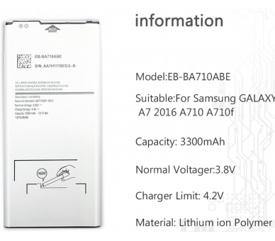 EB-BA710ABE Batterij voor Samsung Galaxy A7 A710 2016 - originele capaciteit ARREGLATELO - 1
