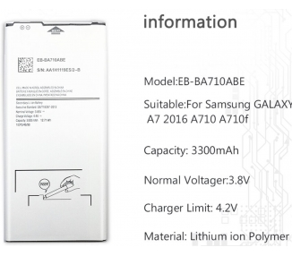 Battery For Samsung Galaxy A7 A710 , Part Number: EB-BA710ABE ARREGLATELO - 1