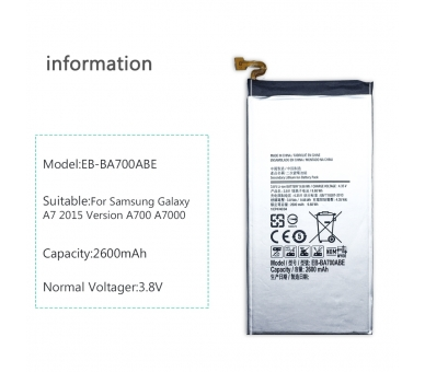 Battery For Samsung Galaxy A7 , Part Number: EB-BA700ABE  - 6