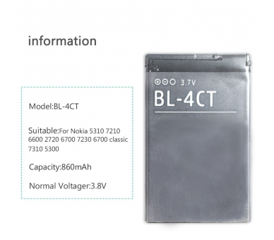 Battery For Nokia 7230 , Part Number: BL-4CT  - 4