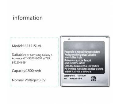 Compatibele batterij voor SAMSUNG EB535151VU GALAXY S ADVANCE i9070  - 2