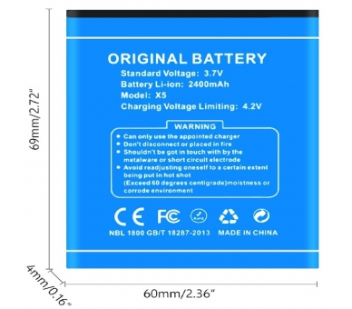 Battery For Doogee X5 Max , Part Number: B-DGX5  - 1
