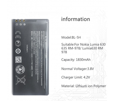 Battery For Nokia Lumia 630 , Part Number: BL-5H  - 1